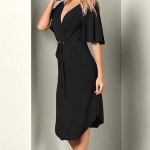 Venus Black Front Tie Grommet V Neck Dress Pockets